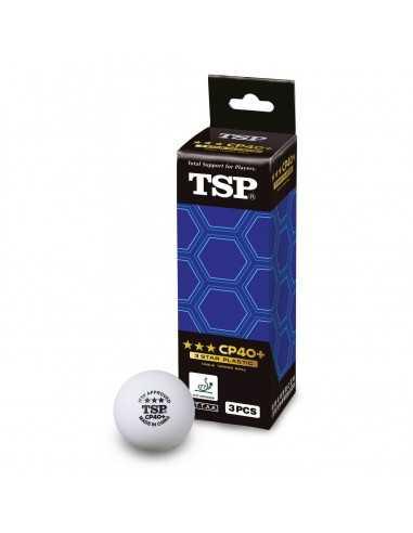 Pelota TSP 40+ 3*** ITTF plástico pack 3