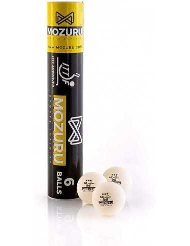 MOZURU balle ABS ITTF 3 STAR 40+ pack 6